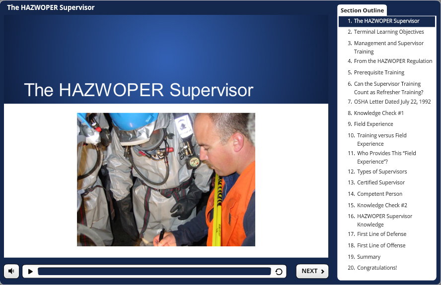 8 hour hazwoper supervisor demo