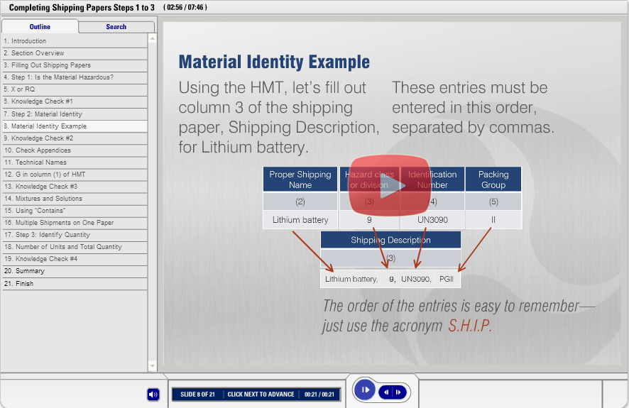DOT Hazmat Shipping Papers Demo