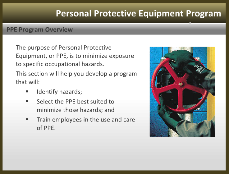 purpose of personal protective equipment is Personal protective equipment consists of a range of clothing and equipment, which is to shield worker's bodies from workplace hazards it is widely used to decrease the exposure of employees to hazards , and to avoid employees from illness or injuries while at work.