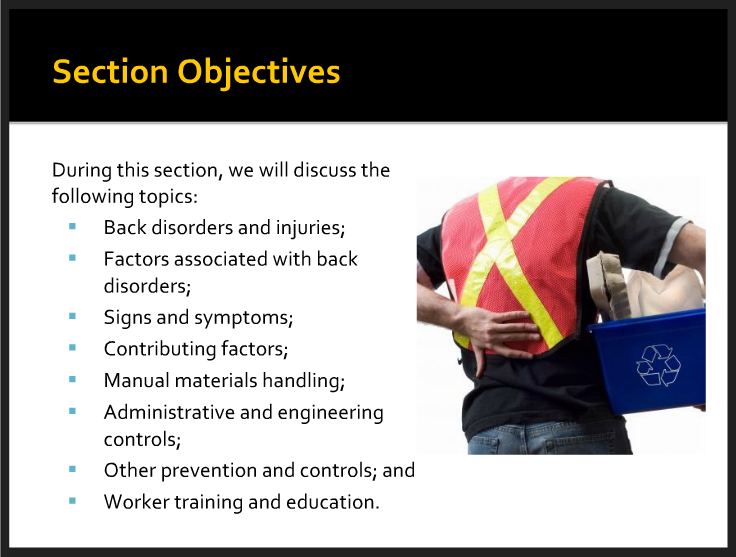 Osha Back Safety Training Back Safety In The Workplace