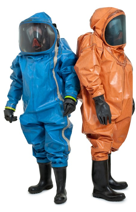 HAZWOPER workers in Hazmat PPE suits