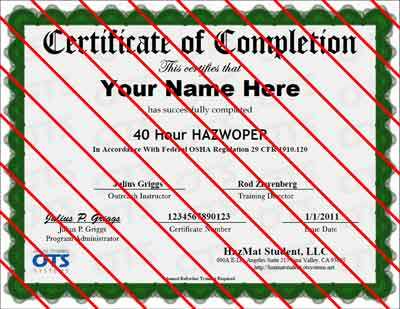 Sample Course Certificate - HAZWOPER Certification