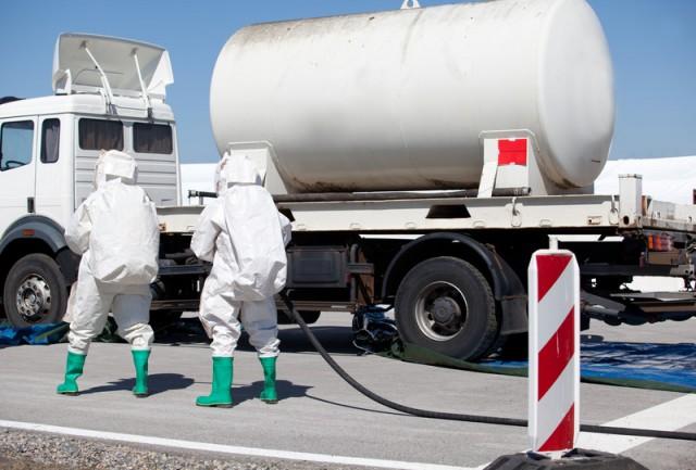 Hazmat Technician team responding to a hazardous materials spill