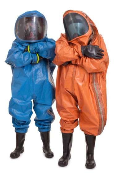 Workers in Hazwoper suits and PPE
