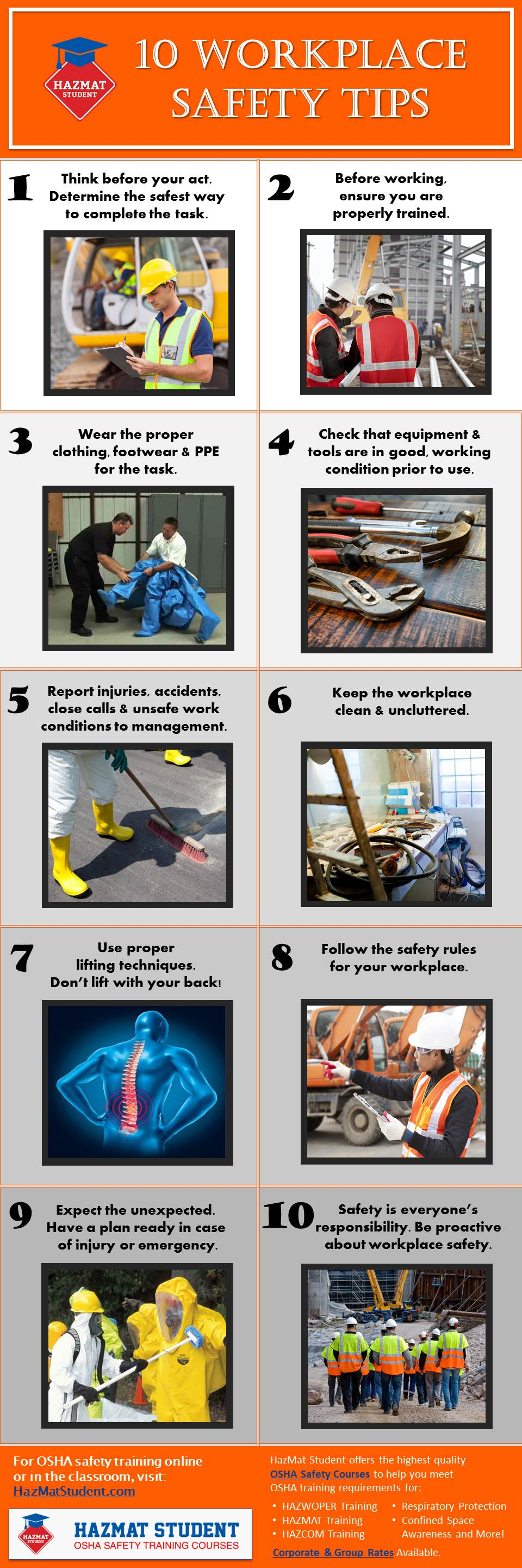 10 workplace safety tips infographic
