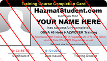 40 hour hazwoper training wallet id card
