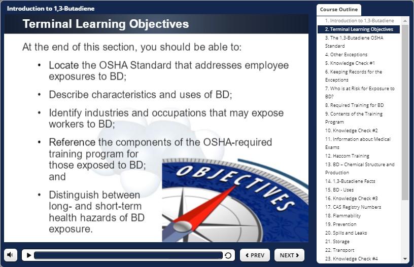 butadiene training objectives
