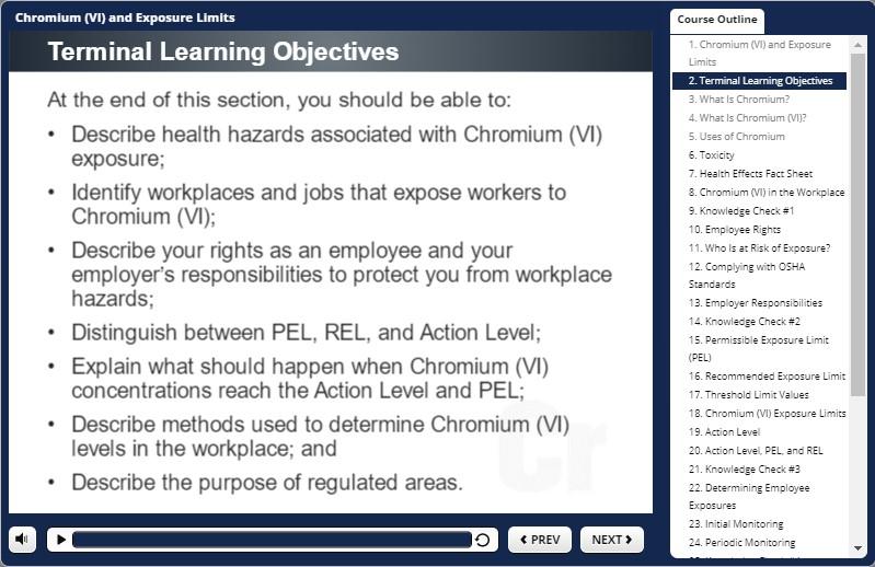 chromium awareness training objectives