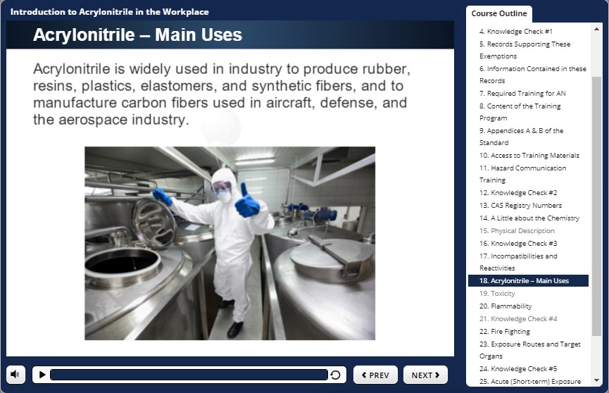 acrylonitrile uses in the workplace